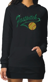 Glitter Fastpitch Softball Athletic Tail With Glitter Softball Fleece Raglan Hoodie Dress