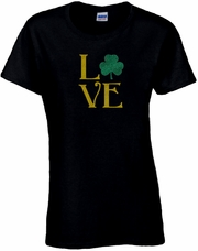 Glitter Green And Gold LOVE Shamrock St. Patrick�s Day Scoop Neck Women's Shirt
