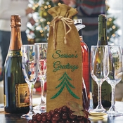 Glitter Green Season's Greetings Burlap Drawstring Wine Bottle Gift Bag