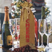 Glitter Red Cheers Burlap Drawstring Wine Bottle Gift Bag