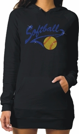 Glitter Softball Athletic Tail With Glitter Softball Fleece Raglan Hoodie Dress