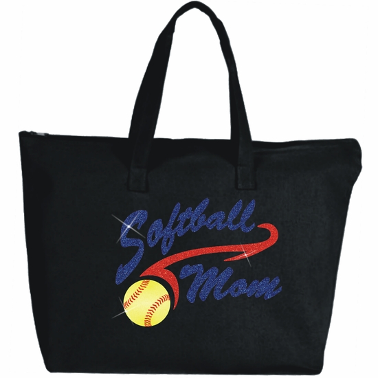 Glitter Softball Mom Athletic Tail With Yellow Glitter Softball Large Zipper Tote Bag