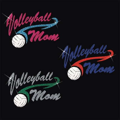 Glitter Volleyball Mom Athletic Tail With Glitter Baseball Scoop Neck Women's Shirt