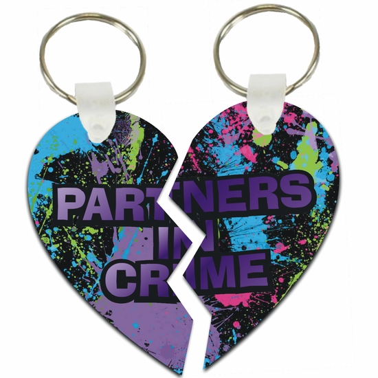 Graffiti Partners In Crime Best Friend Split Heart Aluminum Key Tags/Keychains/Key Charms