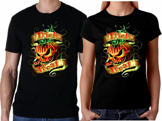 Halloween Jack O Lantern Skull Men/Women Shirt/Spooky Trick Or Treat Pumpkin Skull T-Shirt