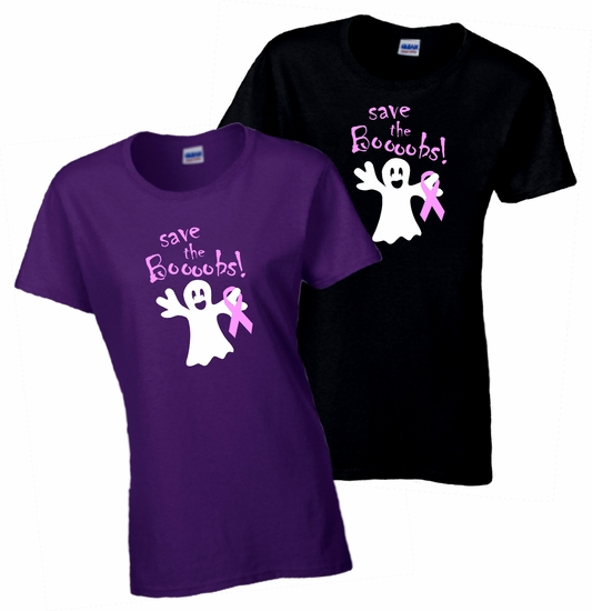 Halloween Save The Boobs Breast Cancer Ribbon Ghost Shirt/Funny Halloween Ghost Ladies T-Shirt/Breast Cancer Awareness Halloween Shirt