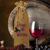 Halloween Wine Bottle Gift Bag/Drink Up Witches Halloween Burlap Bottle Bag
