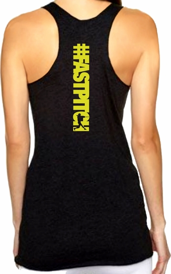 Hashtag FASTPITCH Racerback Premium Triblend Women's Tank Top