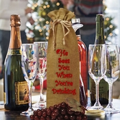 He Sees You When You're Drinking Santa Burlap Drawstring Wine Bottle Gift Bag