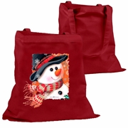 Holiday Tote Bag/Snowman Christmas Canvas Tote Bag/Winter Snowman With Scarf And Black Hat Cotton Canvas Holiday Tote/Reusable Shopping Bag