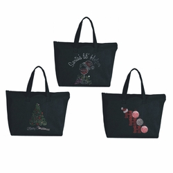 Holiday Large Zipper Tote Bag