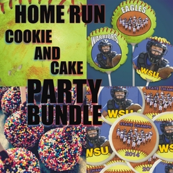 Home Run Fastpitch Softball Personalized Cookie And Cake Treats Party Bundle