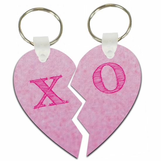 Hugs And Kisses X O Pink Lover's Split Heart Aluminum Key Tags/Keychains/Key Charms