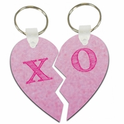 Hugs And Kisses X O Pink Lover�s Split Heart Aluminum Key Tags/Keychains/Key Charms