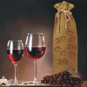 Hugs, Kisses And Hearts Valentine And Celebrations Of The Heart Burlap Drawstring Wine Bottle Gift Bag