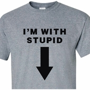 I�m With Stupid (Arrow Pointing Down) Adult T-Shirt
