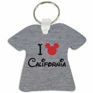 I Mickey California T-Shirt Shaped Aluminum Key Tag/Keychain/Key Charm