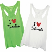 I Mickey Florida, I Mickey California Women�s Racer back Flare Tank