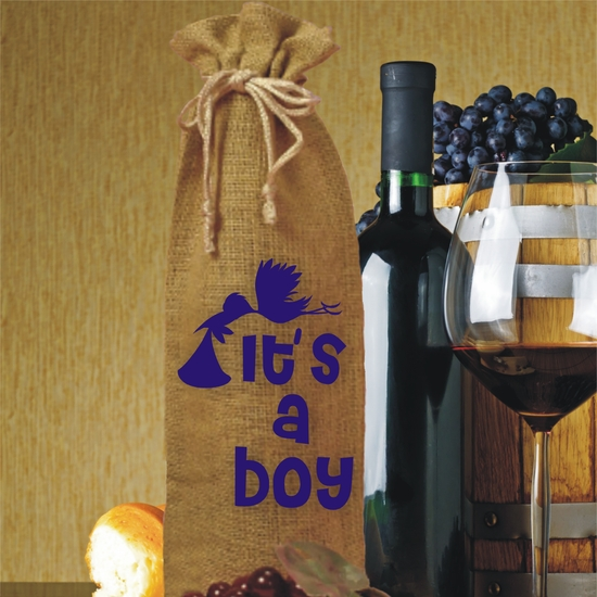 It's A Boy Burlap Drawstring Wine and Champagne Bottle Gift Bag