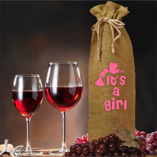 It's A Girl Burlap Drawstring Wine and Champagne Bottle Gift Bag