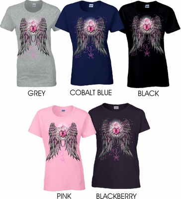 Key To My Heart Feathered Wings Scoop Neck Women's Shirt