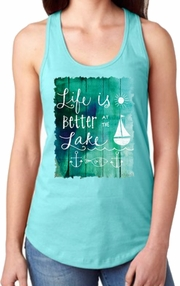 Lake Tank Top/Nautical/ Lake Sailing Women�s Tank Top/ Vintage Aqua Sailing Racerback Tank Top / Weathered Wood Illustration/ Vintage Wood Sign With Nautical Anchors/ Sailboat