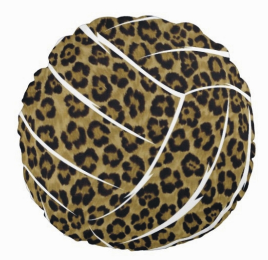 Leopard Print Volleyball Round Throw Pillow