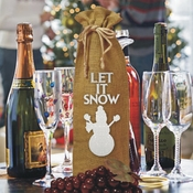 Let It Snow White Glitter Snowman Winter Burlap Drawstring Wine Bottle Gift Bag