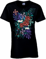 Love Hurts Tattoo Art Floral Spray With Wings, Roses, Crosses And Fleur De Lis Scoop Neck Women's Shirt