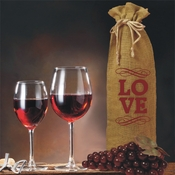 LOVE With Flourish Accents Valentine And Celebrations Of The Heart Burlap Drawstring Wine Bottle Gift Bag