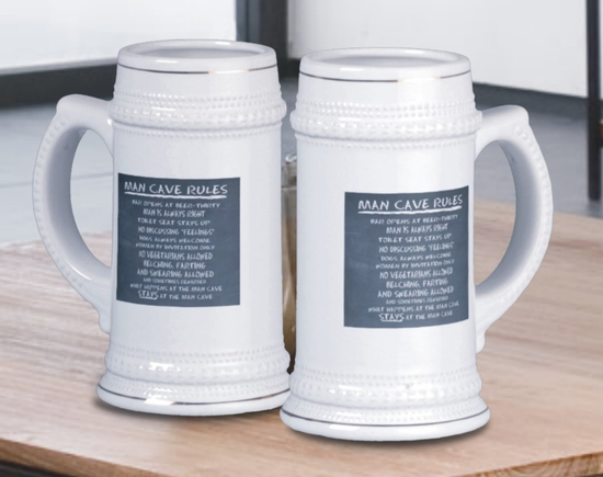 Man Cave Rules Chalkboard Beer Steins