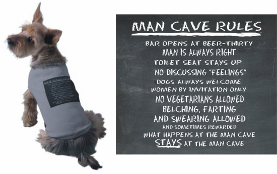 Man Cave Rules Chalkboard Dog T-Shirt