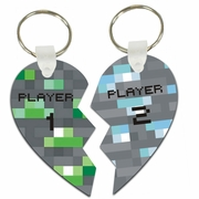 Minecraft Emerald Ore And Blue Diamond Ore Player 1 And Player 2 Split Heart Aluminum Key Tags/Keychains/Key Charms