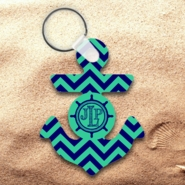 Monogrammed Chevron Nautical Anchor Keychain/ Personalized Chevron Nautical Anchor Key Charm