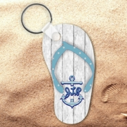 Monogrammed Nautical Beach Wood Flip Flop Keychain/Personalized Summer Beach Flip Flop Key Charm