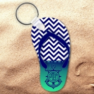 Monogrammed Nautical Chevron Flip Flop Keychain/Personalized Summer Beach Flip Flop Key Charm