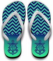 Monogrammed Nautical Chevron Flip Flops/Personalized Summer Beach Flip Flops/Anchor/Initials On Chevron Flip Flops/Summer Beach Sandals
