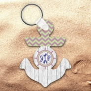 Monogrammed Nautical Chevron Wood Anchor Keychain/Personalized Nautical Ship Wheel And Anchor Key Charm