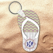 Monogrammed Nautical Chevron Wood Flip Flop Keychain/Personalized Summer Beach Flip Flop Key Charm