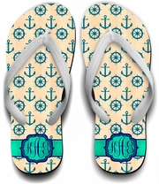 Monogrammed Nautical Flip Flops/Chevron Anchor/Ship Wheel Flip Flops/Custom Beach Flip Flops