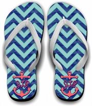 Monogrammed Nautical Flip Flops/Personalized Summer Beach Flip Flops/Anchor/Initials On Chevron Flip Flops/Summer Beach Sandals
