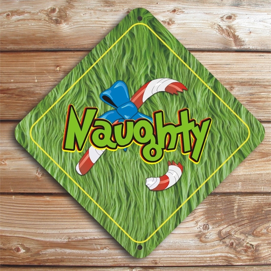 Naughty Grinch With Broken Candy Cane Christmas Caution Sign