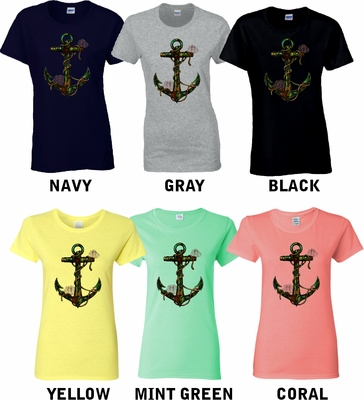 Nautical Anchor Shirt/ Rustic Nautical Anchor With Barnacles And Starfish Ladies T-Shirt/ Sailing Nautical Shirt/ Coral Reef Shirt