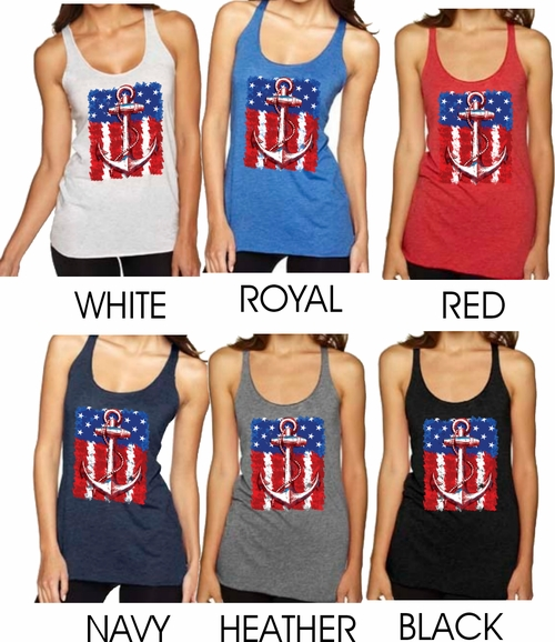 Nautical Anchor Tank Top/American Flag Women's Tank Top/Anchor And Flag Tank Top