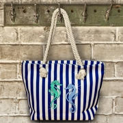 Nautical/ Beach/ Seahorse Rope Tote Bag/ Large Seahorse Bag With Rope Handles/ Glitter Seahorses Nautical Canvas Bag With Rope Handles