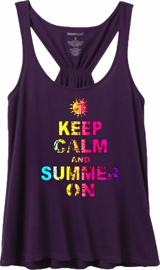 Neon Keep Calm And Summer On Women's Flare Tank