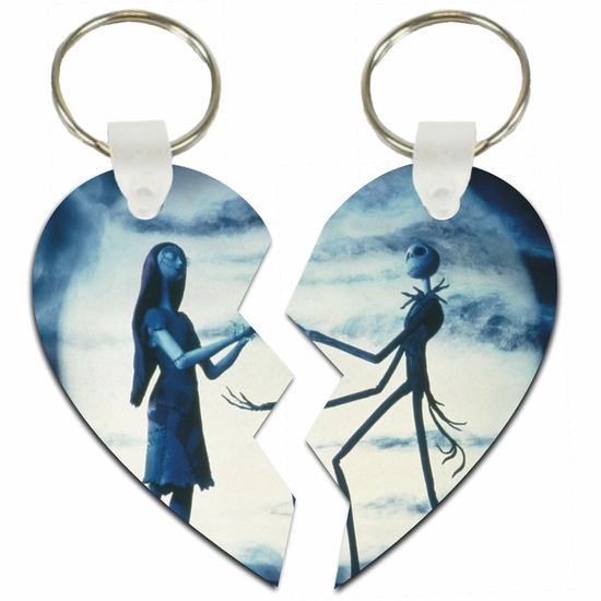 Nightmare Before Christmas Jack And Sally On Spiral Hill Split Heart Aluminum Key Tags/Keychains/Key Charms
