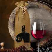 Nightmare Before Christmas Wine Bottle Gift Bag/Glitter Silhouette Jack And Sally On Spiral Hill Burlap Bottle Bag/Halloween Burlap Gift Bag