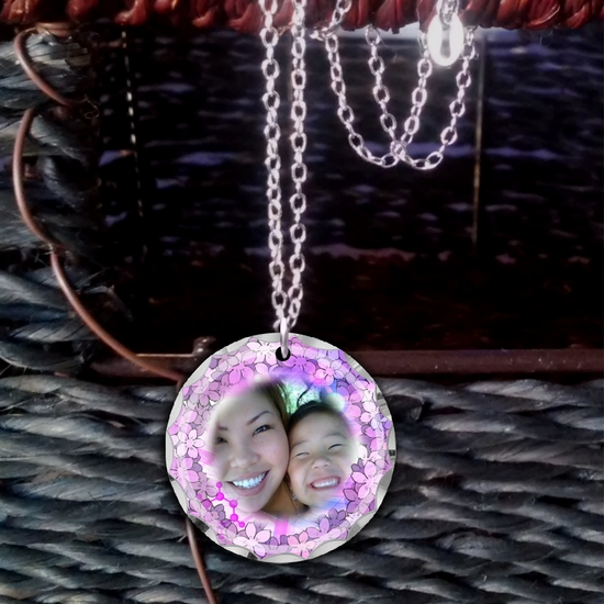 Pastel Purple And Pink Posies Personalized Photo Necklace