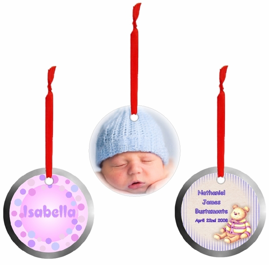 Personalized Aluminum Round Baby And Youth Ornaments And Gift Tags